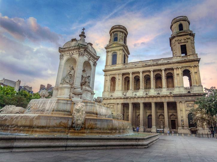 The Church of Saint-Sulpice and Fountain in Paris, France